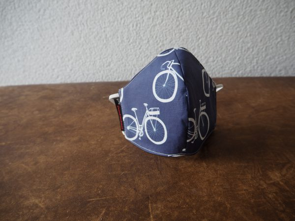 Mundschutz Nasenschutz Maske mit Fahrrad-Motiv – Made in Germany – blau – weiss