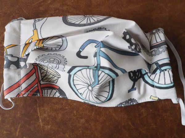 Mundschutz Nasenschutz Maske cremeweiss – bunte Fahrräder – Made in Germany